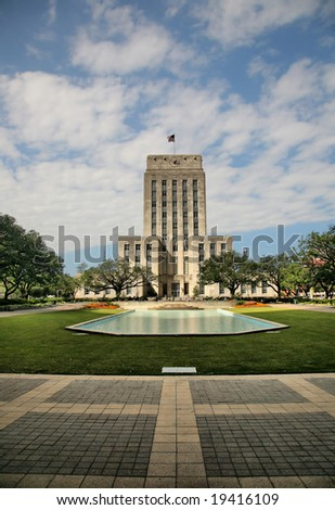 Editorial Use Only: Grand Old Houston City Hall (Release Information: Editorial Use Only. Use of this image in advertising or for promotional purposes is prohibited.) - stock photo
