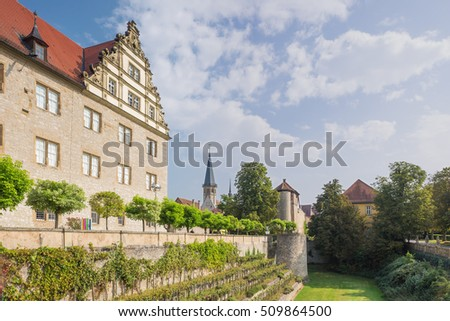 Editorial: Weikersheim, Baden-Wurttemberg, Germany, September 27, 2016 - Palace with terrace garden
