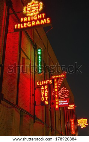 EDMONTON, AB, CANADA-February 20, 2014: The Neon Sign Museum in Edmonton started displaying neon signs outdoors