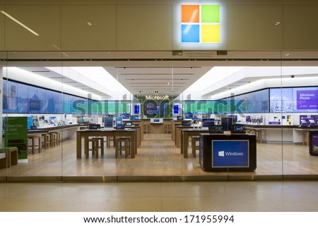 EDMONTON, AB, CANADA-January 16, 2014: Exterior of a Microsoft store after store hours on January 16th, 2014. - stock photo