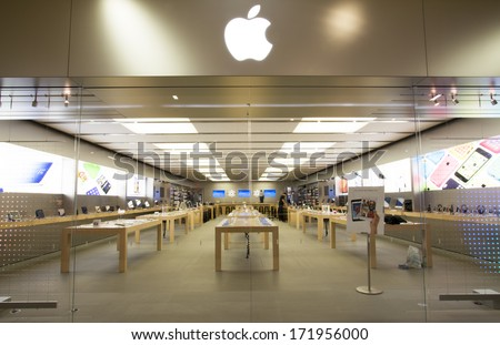 EDMONTON, AB, CANADA-January 16, 2014: Exterior of an Apple Store after store hours on January 16th, 2014. - stock photo