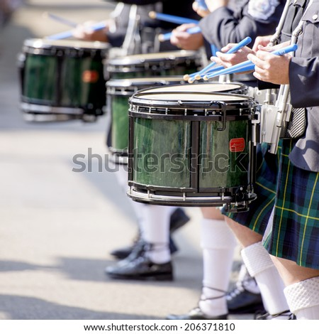 EDMONTON, AB, CANADA-July 18, 2014:  Drummers as seen in the K-Days Parade on July 18th, 2014.  - stock photo