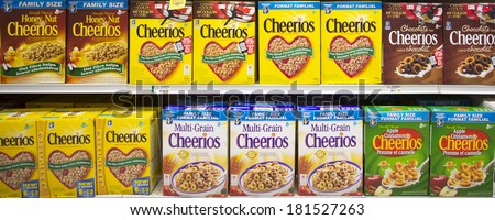 EDMONTON, AB, CANADA-March 12, 2014: Cheerios cereal is on display in a grocery store on March 12th, 2014.