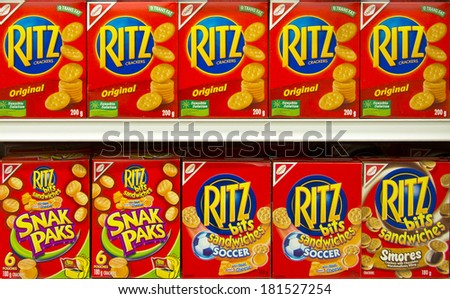 EDMONTON, AB, CANADA-March 12, 2014: Ritz cracker boxes on display in a grocery store on March 12th, 2014.  - stock photo