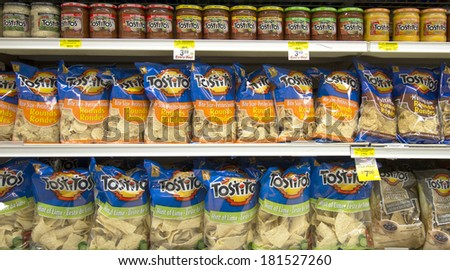 EDMONTON, AB, CANADA-March 12, 2014: Tostitos chips and salsa is on display in a grocery store on March 12th, 2014.