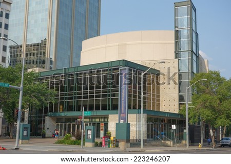 EDMONTON, CANADA - AUGUST 7, 2014: The Francis Winspear Centre for Music is a performing arts centre home of the Edmonton Symphony Orchestra