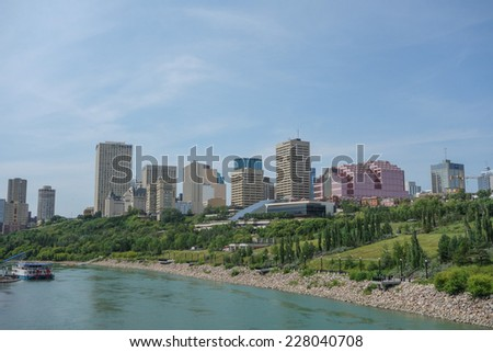 EDMONTON, CANADA - AUGUST 7, 2014: View of the modern city centre of Egmonton in Canada