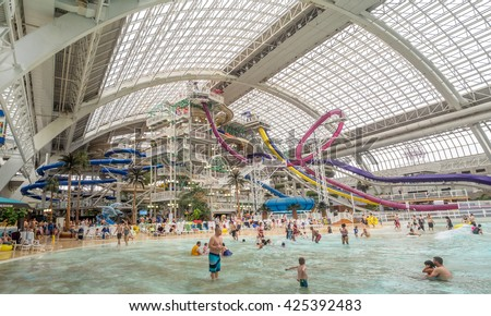 EDMONTON, CANADA - MAY 21: West Edmonton Mall water park attraction on May 21, 2016 in Edmonton, Alberta. The West Edmonton Mall was once the largest mall in the world.