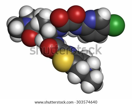 Edoxaban anticoagulant drug molecule (direct FXa inhibitor). Atoms are represented as spheres with conventional color coding: hydrogen (white), carbon (grey), oxygen (red), nitrogen (blue), etc  - stock photo