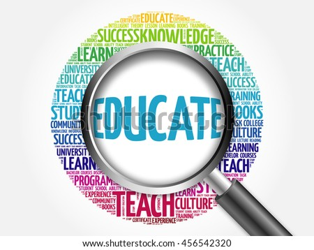 EDUCATE. Word education collage with magnifying glass, concept 3D illustration - stock photo