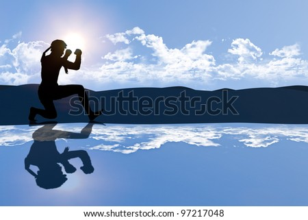 Educated Thai male boxer student is praticing master action in the morning light as seen as silhoulette shape with highland background and skies reflected on foreground created with computer graphic - stock photo