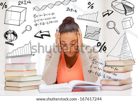 education and college concept - tired student with pile of books and notes studying indoors - stock photo