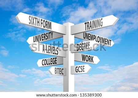 Education and employment choices signpost on blue sky background - stock photo