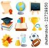 Education and graduation icon set. - stock photo