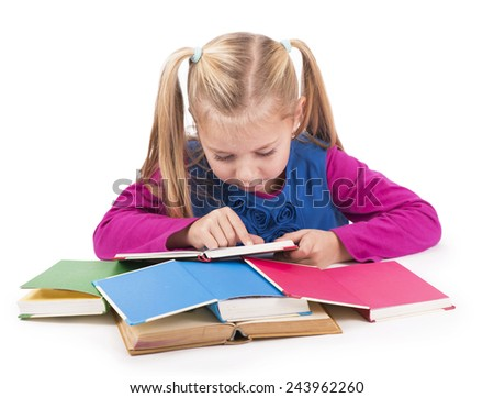 education and home concept - happy smiling girl with books  - stock photo