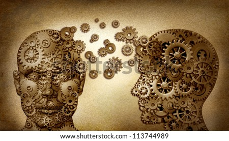 Education and leadership teamwork as a learning and lead icon by two human heads frontal and side view with gears on a grunge old vintage document as an idea made of cogs as a team partnership.