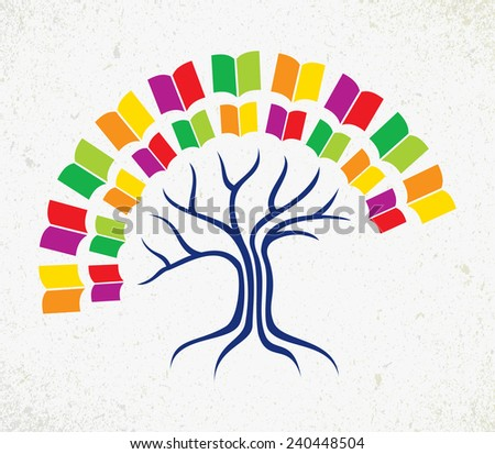 Education and learning concept with colorful abstract tree book. - stock photo