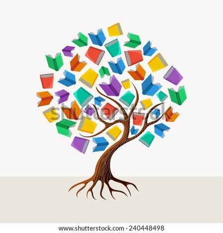 Education and learning concept with colorful abstract tree book illustration - stock photo