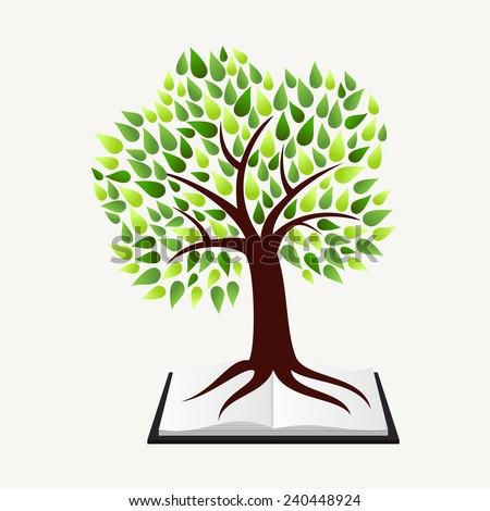 Education and learning concept with tree and book illustration background - stock photo