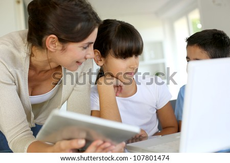 Education and new technologies at school - stock photo