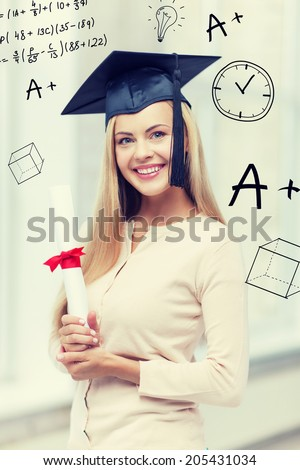 education and school concept - happy student in graduation cap with certificate - stock photo