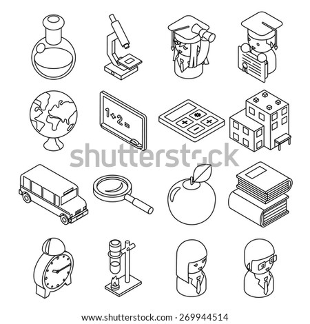 Education and school isometric 3d line icons. Student and bus, calculator and monochrome design - stock photo