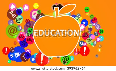 Education Apple. Education icons flying out of the apple - stock photo