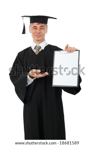Education background: serious man in a academic gown. - stock photo