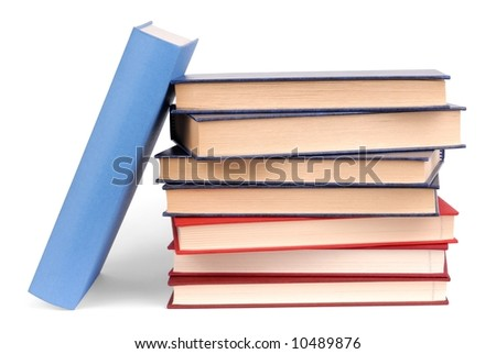 Education: books stack on white background