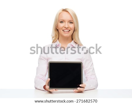 education, business and technology concept - smiling businesswoman or student showing tablet pc computer blank screen over white background - stock photo