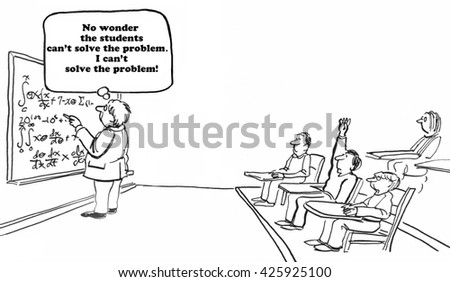 Education cartoon about a teacher at a blackboard with an unsolvable math problem. - stock photo