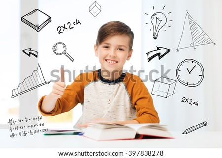 education, childhood, people and school concept - happy student boy with textbook and notebook showing thumbs up at home over mathematical doodles - stock photo