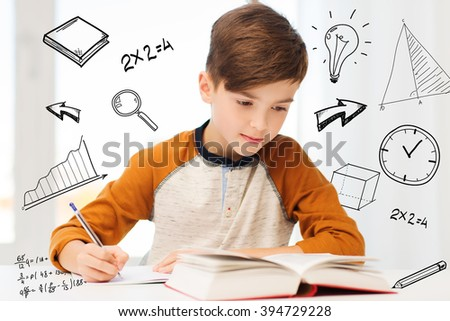 education, childhood, people, homework and school concept - student boy with book writing to notebook at home over mathematical doodles - stock photo