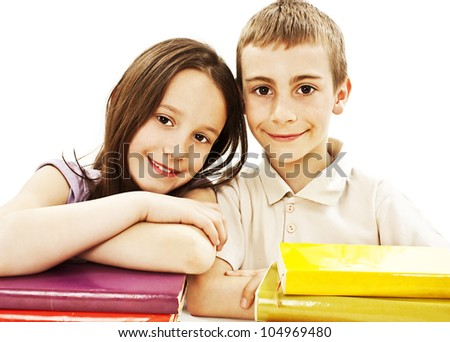 Education, children, happiness, with colored book. Isolated on white background. - stock photo