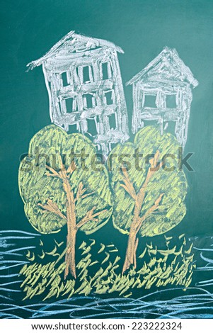 Education. Children's dreamy chalk drawing of habitable island.   - stock photo