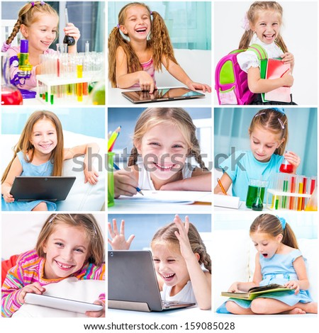education collage . schoolchildren are trained - stock photo