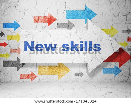 Education concept:  arrow with New Skills on grunge textured concrete wall background, 3d render - stock photo