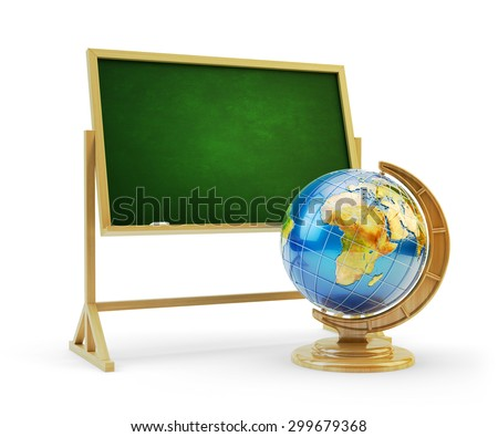 Education concept, back to school, blackboard or green chalkboard with earth globe isolated on white background. Source of Globe texture: http://visibleearth.nasa.gov - stock photo