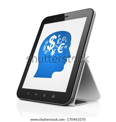 Education concept: black tablet pc computer with Head With Finance Symbol icon on display. Modern portable touch pad on White background, 3d render - stock photo