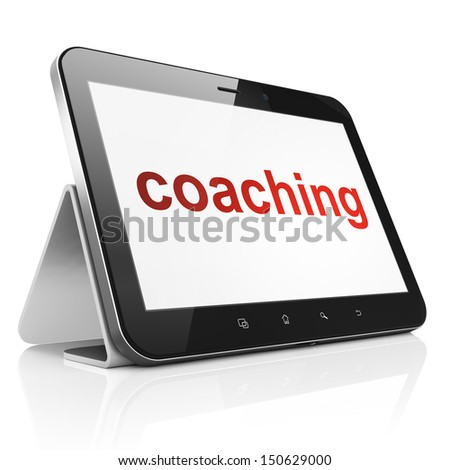Education concept: black tablet pc computer with text Coaching on display. Modern portable touch pad on White background, 3d render - stock photo