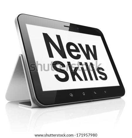 Education concept: black tablet pc computer with text New Skills on display. Modern portable touch pad on White background, 3d render - stock photo