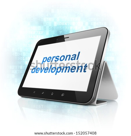 Education concept: black tablet pc computer with text Personal Development on display. Modern portable touch pad on Blue Digital background, 3d render - stock photo