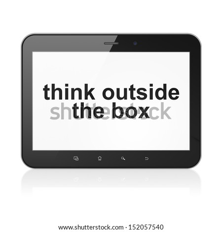 Education concept: black tablet pc computer with text Think outside The box on display. Modern portable touch pad on White background, 3d render - stock photo