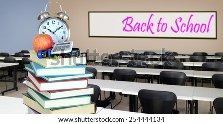 education concept: book and classroom for back to school; - stock photo