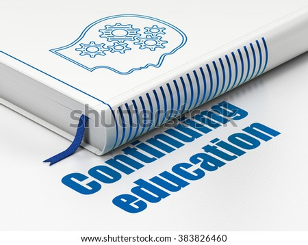 Education concept: book Head With Gears, Continuing Education on white background - stock photo