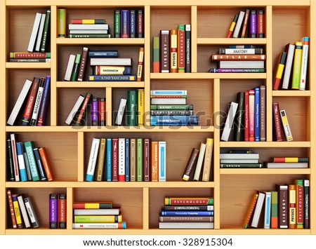 Education concept. Books and textbooks on the bookshelf. 3d - stock photo