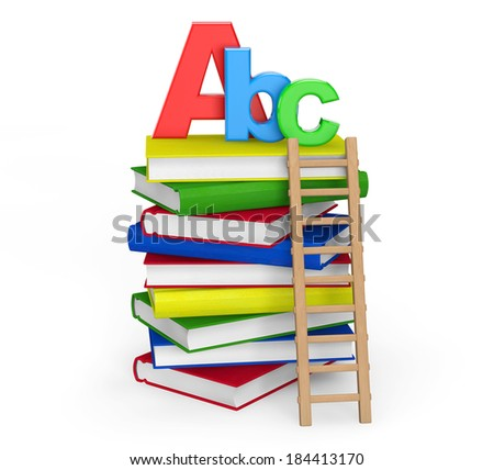 Education Concept. Books with ABC sign on a white background - stock photo