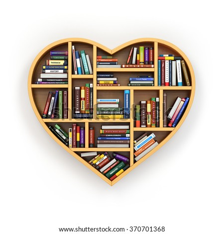 Education concept. Bookshelf with books and textbooks in form of heart. I love reading. 3d - stock photo