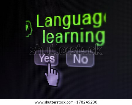 Education concept: buttons yes and no with pixelated Head With Lightbulb icon, word Language Learning and Hand cursor on digital computer screen, selected focus 3d render - stock photo