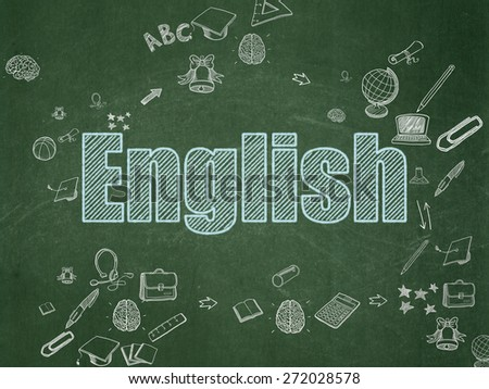 Education concept: Chalk Blue text English on School Board background with Scheme Of Hand Drawn Education Icons, 3d render - stock photo